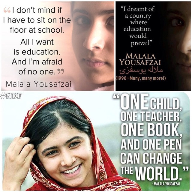 Malala Yousafzai wins #NobelPeacePrize! Congratulations to a very special, brave girl! ??? #courage #education #hope #NDF #NDFquotes
