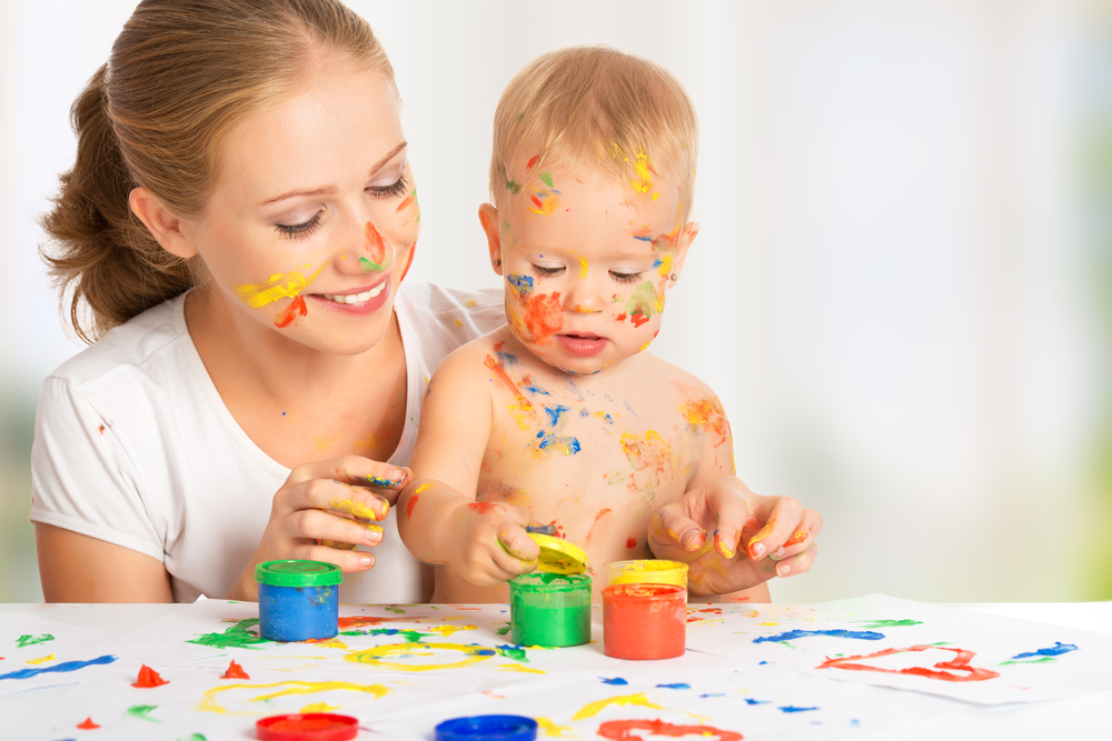 mother-and-her-baby-boy-painting