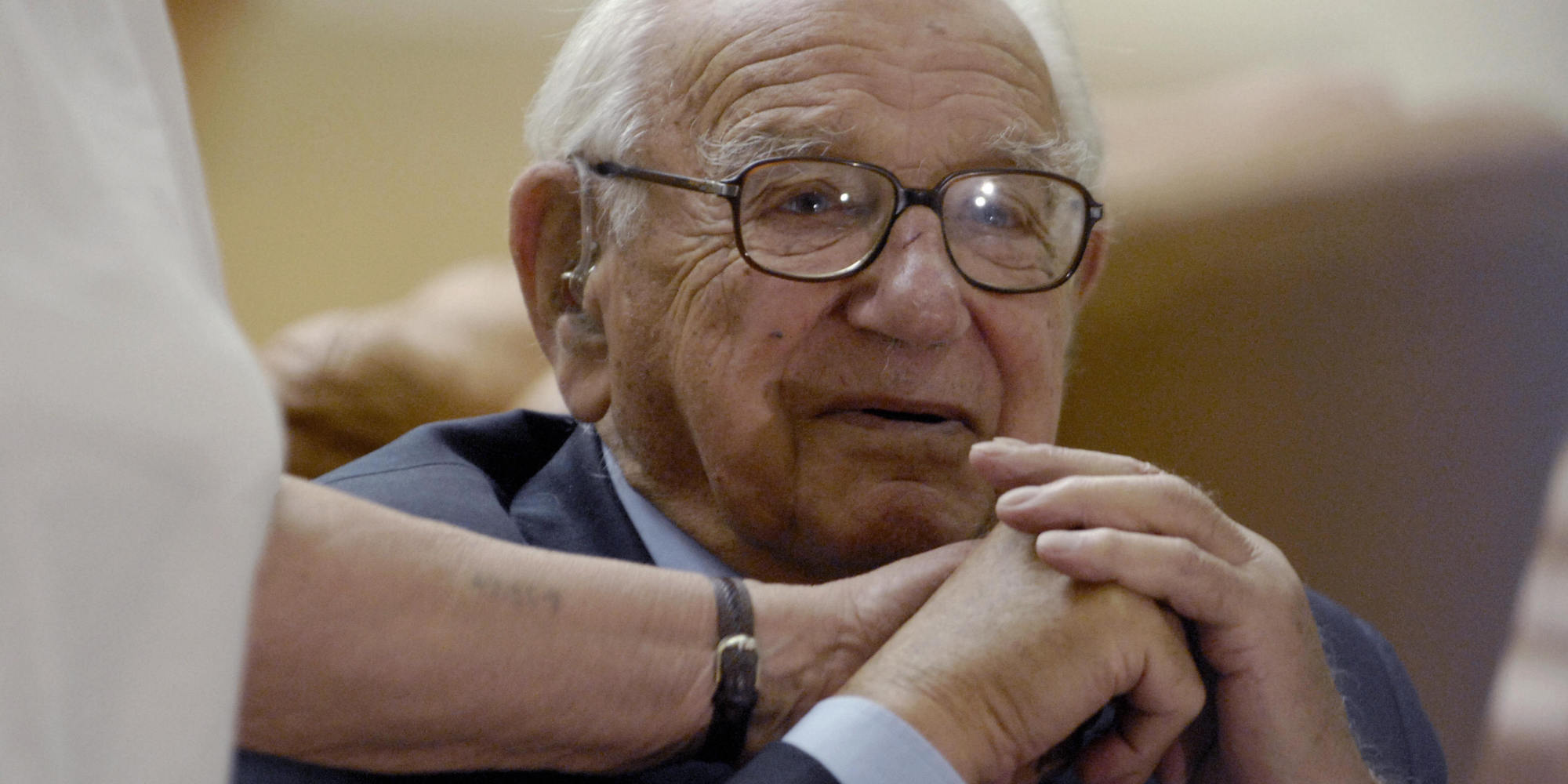 (FILES) -- A file photo taken 09 October 2007 shows British Sir Nicholas Winton in backstage of Prague's Congress Center Hall before a meeting which paid tribute to him after he rescued about 669 mostly Jewish Czech children from their doomed fate in the Nazi death camps prior to the outbreak of World War II in an operation known as the Czech Kindertransport. Winton, 98, has been admitted to the coronary department of a Prague hospital, the agency CTK reported 14 October 2007. Winton's condition worsened during a week-long visit to the Czech Republic, where the evacuations took place, the tabloid Blesk said. AFP PHOTO/ MICHAL CIZEK (Photo credit should read MICHAL CIZEK/AFP/Getty Images)
