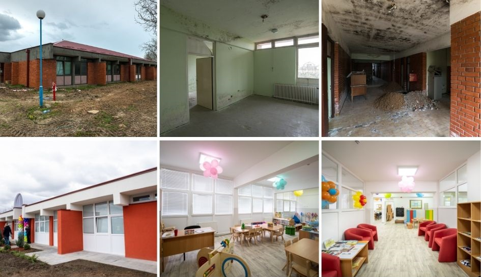 Kindergarten in Prnjavor before and after the reconstruction by the Novak Djokovic Foundation.