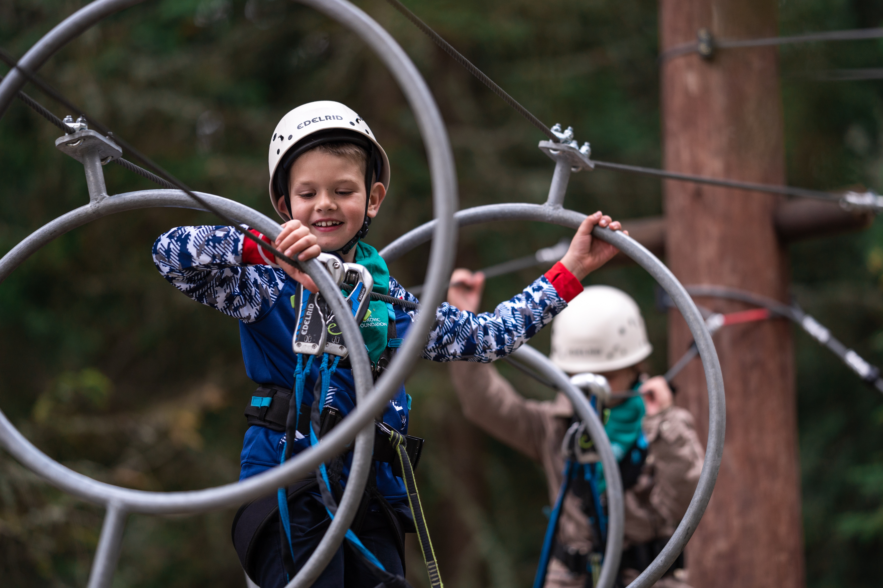Children enjoyed various activities-they were zip-lining, climbing and jumping hoops.