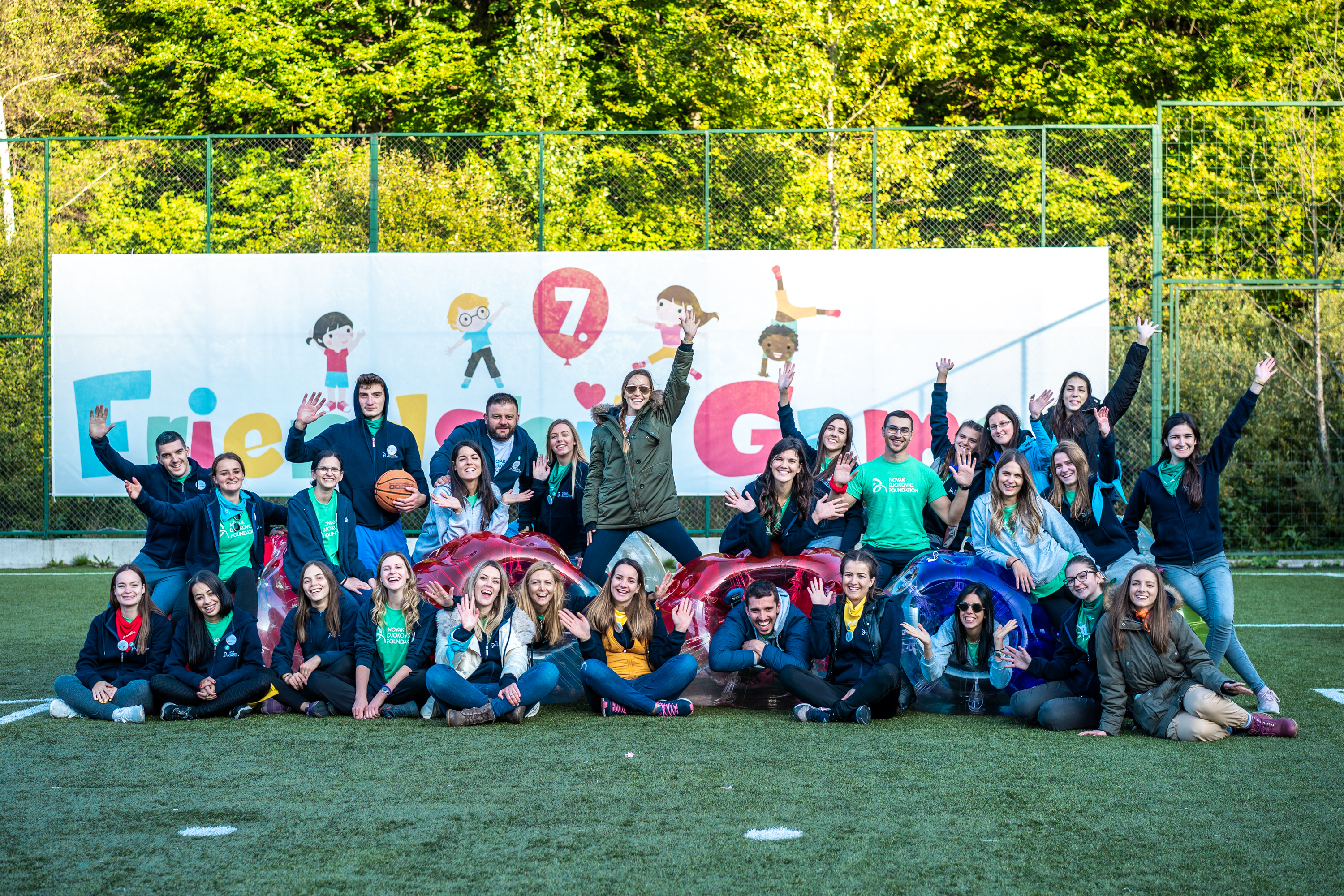 The Novak Djokovic Foundation team and volunteers at the 7th.Friendship Games camp.