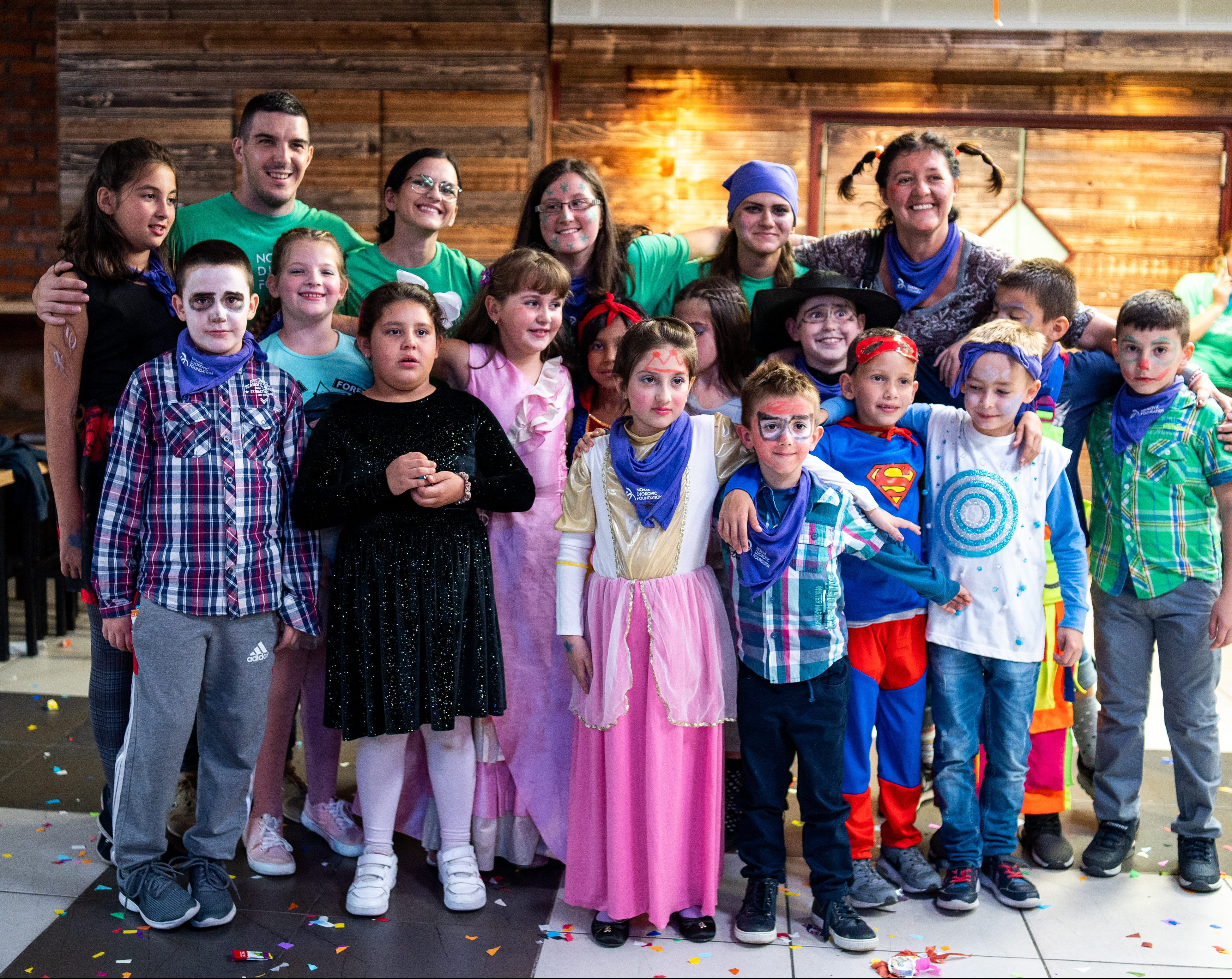 Lena with her group at the most fun activity at the Friendship Games - masquerade ball.