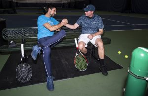 Novak Djokovic and Dave Wills during a visit to the XS Tennis Village ahead of the 2018 Laver Cup in Chicago, IL on Tuesday, September 18, 2018. (Ben Solomon/Laver Cup)