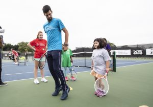 Novak Djokovic at the kids clinic on the ground of XS Tennis in Chicago, Sept 18, 2018