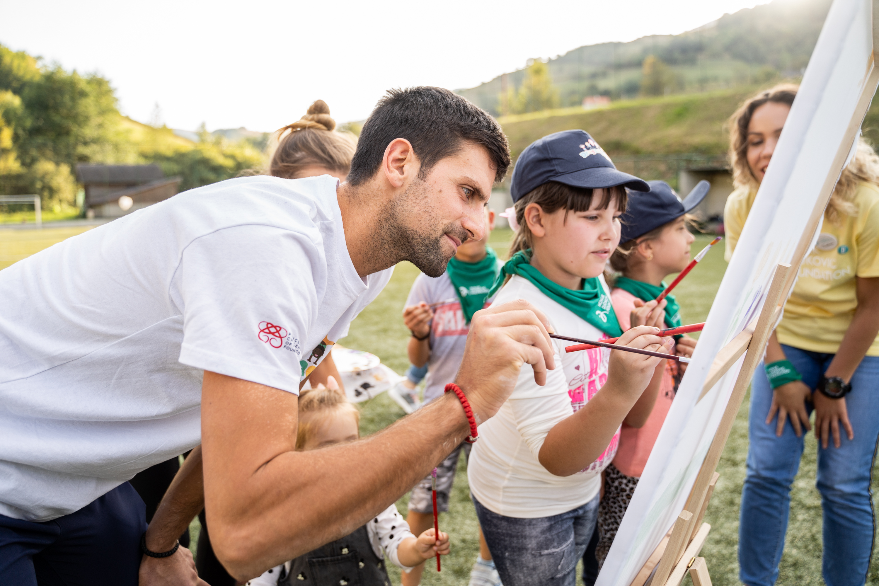 "Novak Djokovic during the 7th ""Friendship Games"" camp."