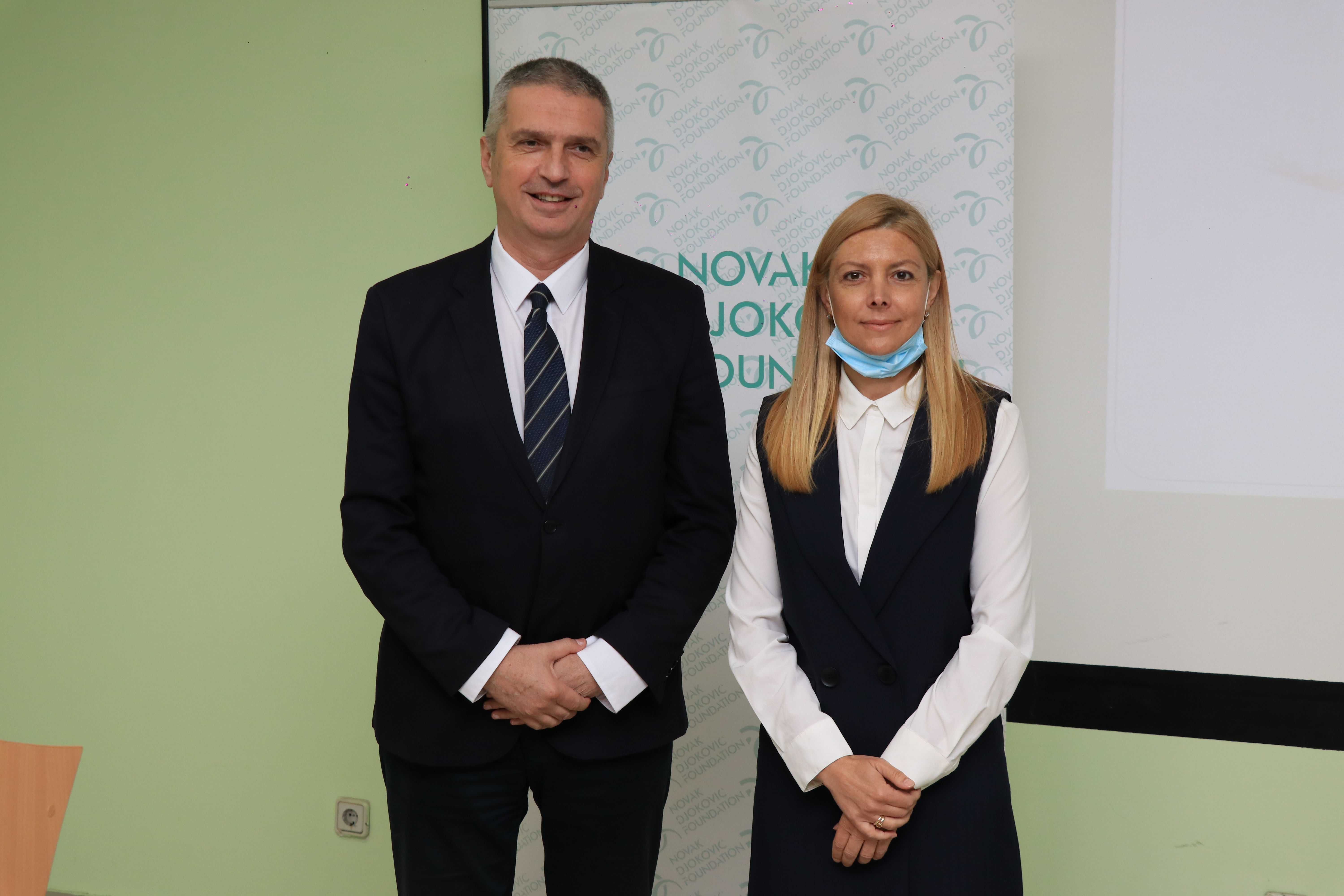 Assistant Professor Dr. Predrag Sazdanovic and Foundation's fundraising manager Emina Potric.