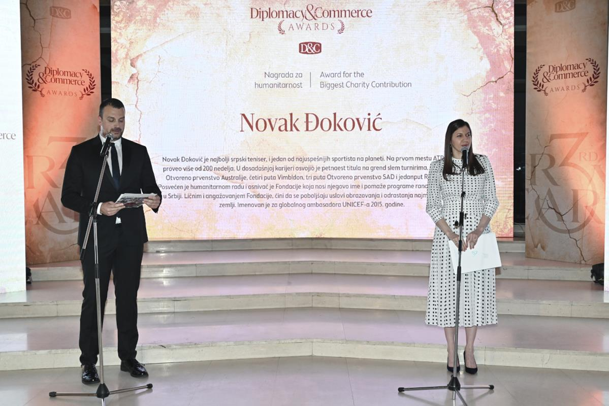 The National director of Djokovic Foundation Maja Kremic (right) accepts the awards on behalf of Novak Djokovic and the Foundation at the ceremony held at the National Theater in Belgrade.